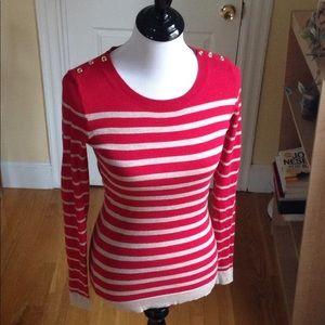 Banana Republic red tan stripe sweater S NWOT